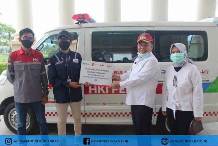 Bupati OI Terima Secara Simbolis Pemberian Mobil Ambulance Dari PT. HK Untuk Pemkab OI