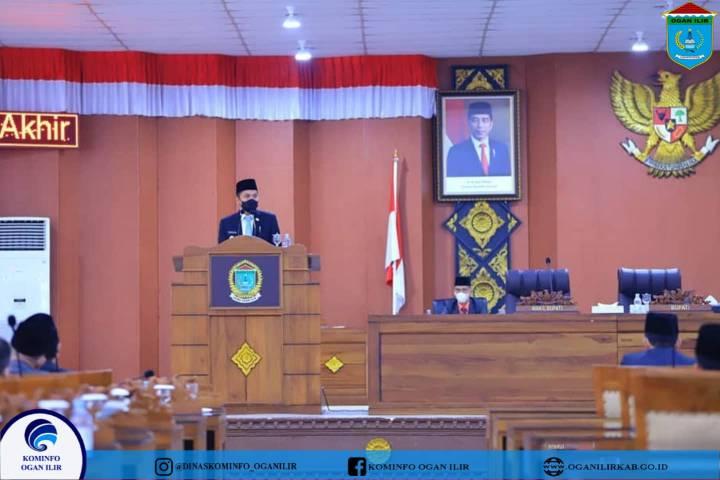 Bupati Panca Hadiri rapat paripurna XII DPRD membahas tentang Raperda Usul pemerintahan Kab OI